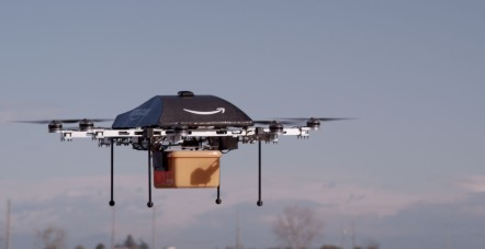 A prototype of Amazon's delivery drone in action